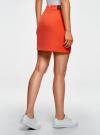 Юбка короткая с отделкой из искусственной кожи oodji #SECTION_NAME# (оранжевый), 11601179-10/46415/5500N - вид 3