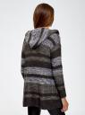 Кардиган полосатый с капюшоном oodji #SECTION_NAME# (серый), 63205244/46133/2520S - вид 3