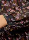 Блузка принтованная с завязками oodji #SECTION_NAME# (черный), 21418013-2M/17358/2919F - вид 5
