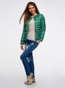 Куртка стеганая с круглым вырезом oodji #SECTION_NAME# (зеленый), 10204040-1B/42257/6D41F - вид 6