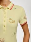 Поло из ткани пике с вышивкой oodji #SECTION_NAME# (желтый), 19301001-12/46161/5019O - вид 5