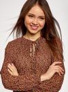 Блузка гофрированная с завязками oodji #SECTION_NAME# (коричневый), 11414005/46166/3957F - вид 4