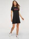 Платье трикотажное с декором oodji #SECTION_NAME# (черный), 14000162-18/47481/294DP - вид 6