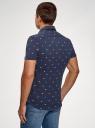 Рубашка хлопковая с коротким рукавом oodji для мужчины (синий), 5L301003M/46748N/7910G
