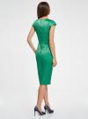 Платье-футляр с вырезом-лодочкой oodji для женщины (зеленый), 11902163-1/32700/6E00N - вид 3