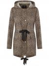 Куртка удлиненная на кулиске oodji для женщины (бежевый), 11D03006/24058/3329A