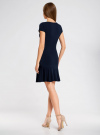 Платье трикотажное с воланами oodji #SECTION_NAME# (синий), 14011017/46384/7900N - вид 3