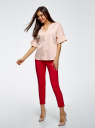 Рубашка хлопковая с V-образным вырезом oodji для женщины (розовый), 13K05001/33113/5400N