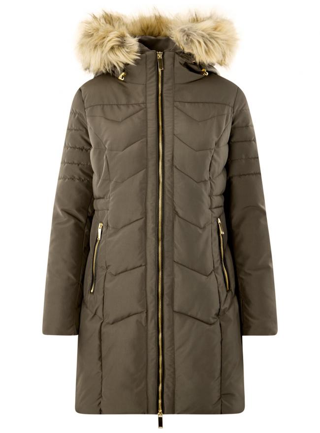 Куртка удлиненная с капюшоном oodji для женщины (зеленый), 20204047/45934/6800N
