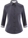 Блузка хлопковая с рукавом 3/4 oodji #SECTION_NAME# (синий), 13K03005B/26357/7910D