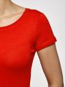 Футболка базовая приталенная oodji для женщины (красный), 14701005-7B/46147/4500N