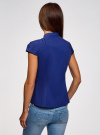 Рубашка с коротким рукавом из хлопка oodji #SECTION_NAME# (синий), 11403196-3/26357/7500N - вид 3