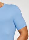 Футболка базовая приталенная oodji для мужчины (синий), 5B611004M/46737N/7002N