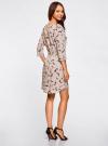 Платье вискозное с рукавом 3/4 oodji #SECTION_NAME# (бежевый), 11901153-1B/42540/3352A - вид 3