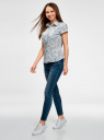 Рубашка из хлопка принтованная oodji для женщины (синий), 11402084-3/12836/7010F
