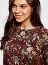 Платье принтованное прямого силуэта oodji #SECTION_NAME# (коричневый), 21900322-1/42913/4954F - вид 4