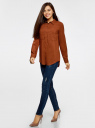 Блузка базовая из вискозы с карманами oodji #SECTION_NAME# (коричневый), 11400355-4/26346/3900N - вид 6
