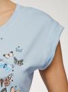 Футболка хлопковая с принтом oodji для женщины (синий), 14708032-11/46159/6575U - вид 5