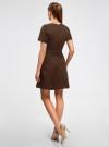 Платье жаккардовое с коротким рукавом oodji для женщины (коричневый), 11902161/45826/3900N - вид 3