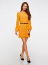 Платье из шифона с ремнем oodji для женщины (желтый), 11900150-5B/32823/5200N - вид 6