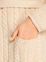 Кардиган на поясе с капюшоном oodji для женщины (слоновая кость), 73207185-1/33491/3000N