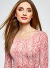 Платье трикотажное облегающее oodji #SECTION_NAME# (розовый), 14001121-3B/16300/4B12A - вид 4