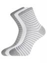 Комплект хлопковых носков в полоску (3 пары) oodji для женщины (разноцветный), 57102813T3/48022/11