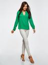 Блузка с вырезом-капелькой и металлическим декором oodji #SECTION_NAME# (зеленый), 21400396/38580/6D00N - вид 6