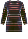 Блузка с рукавом 3/4 и декоративными молниями oodji для женщины (синий), 24200002-1B/37809/7945S