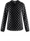 Блузка из струящейся ткани с контрастным воротником oodji #SECTION_NAME# (черный), 11411117/36005/2930Q