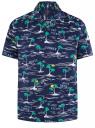 Рубашка принтованная с коротким рукавом oodji #SECTION_NAME# (синий), 3L400004M/48205N/7973G