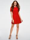 Платье жаккардовое с коротким рукавом oodji #SECTION_NAME# (красный), 11902161/45826/4500N - вид 2