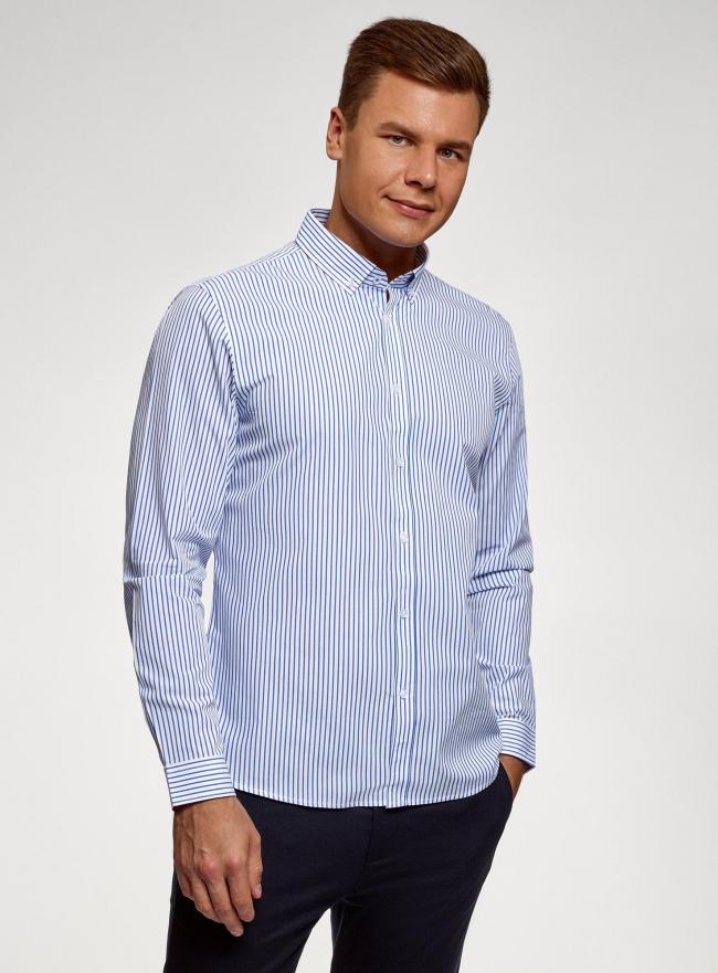 Рубашка хлопковая с длинным рукавом oodji #SECTION_NAME# (белый), 3L110367M/49381N/1075S