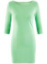 Платье трикотажное базовое oodji #SECTION_NAME# (зеленый), 14001071-2B/46148/6500N