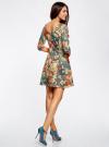 Платье трикотажное принтованное oodji #SECTION_NAME# (разноцветный), 14001150-3/33038/3375F - вид 3