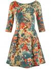 Платье трикотажное принтованное oodji #SECTION_NAME# (разноцветный), 14001150-3/33038/3375F