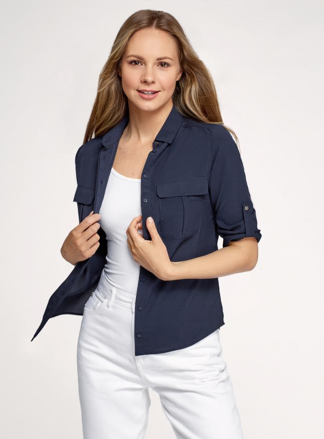 Блузка из струящейся ткани с регулировкой длины рукава oodji для женщины (синий), 11403225-10B/46123/7900N