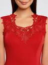 Платье с кружевной отделкой по горловине oodji для женщины (красный), 24015001/33038/4500L