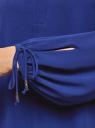 Блузка свободного силуэта с завязками на манжетах oodji для женщины (синий), 21414003/42543/7500N