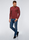 Пуловер базовый с V-образным вырезом oodji для мужчины (красный), 4B212007M-1/34390N/4C00M - вид 6