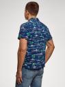 Рубашка принтованная с коротким рукавом oodji #SECTION_NAME# (синий), 3L400004M/48205N/7973G - вид 3
