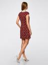 Платье принтованное с контрастным воротником oodji #SECTION_NAME# (красный), 11910077-3/37888/4970F - вид 3