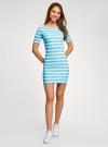 Платье прилегающего силуэта в рубчик oodji #SECTION_NAME# (синий), 14011012/45210/7010S - вид 2