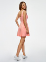 Платье на бретелях с расклешенным низом oodji для женщины (розовый), 14015021-1/48436/4110P