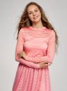 Лонгслив трикотажный прямого силуэта oodji для женщины (розовый), 14201046-1/33520/4100N