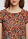 Платье принтованное прямого силуэта oodji для женщины (красный), 21901163-1M/45559/4959E