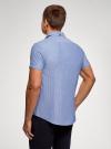 Рубашка хлопковая с коротким рукавом oodji #SECTION_NAME# (синий), 3L410136M/49174N/7079G - вид 3