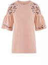 Блузка с вышивкой и воланами на рукавах oodji для женщины (розовый), 14708042-1/47420/4B12P