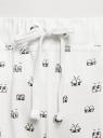 Брюки трикотажные на завязках oodji для женщины (белый), 16701042/46919/1229O