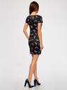 Платье трикотажное с заклепками на плечах oodji для женщины (черный), 14001177-1/37809/2970U